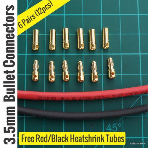 3.5mm Gold Bullet Connectors 6 Pairs (6pcs Male + 6Pcs Female).