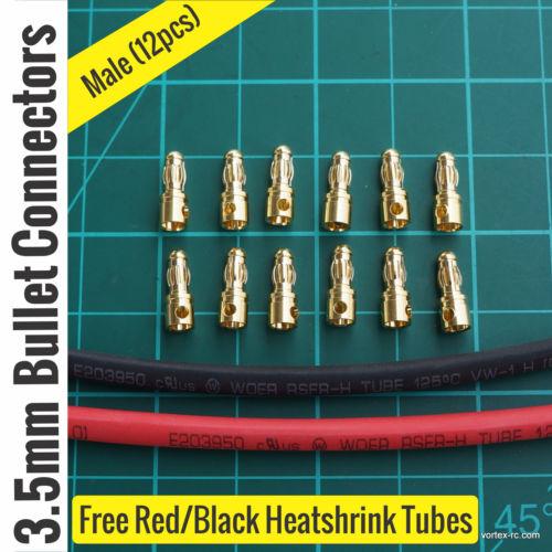 3.5mm Gold Bullet Connectors Male (12Pcs).
