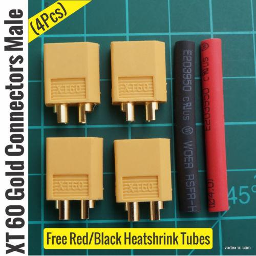 Male XT60 Gold Connectors (4Pcs).
