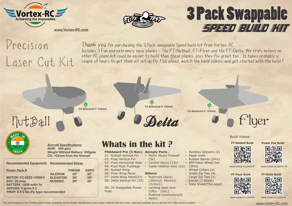 Ft Nutball Ft Flyer And Ft Delta Swappable Rc Plane Kits