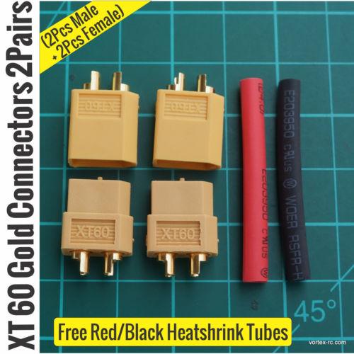 XT60 Gold Connectors 2Pairs (2Pcs Male + 2Pcs Female)