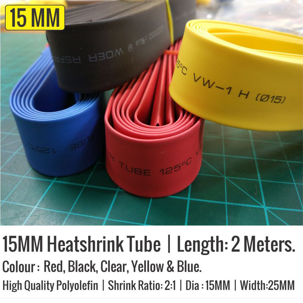 15mm Heat Shrink Tube Polyolefin  2:1 Heat Shrink Tubing Tube Cable  All Colour